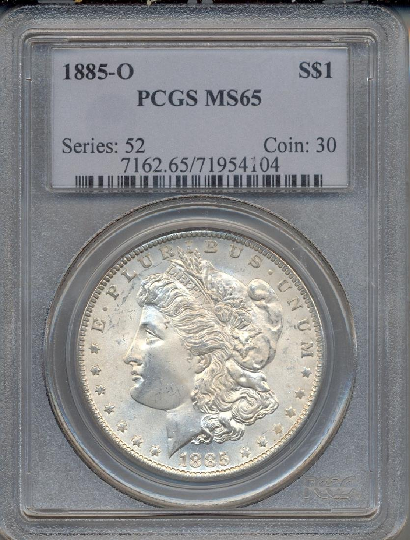 1885-O $1 Morgan Silver Dollar Coin PCGS MS65