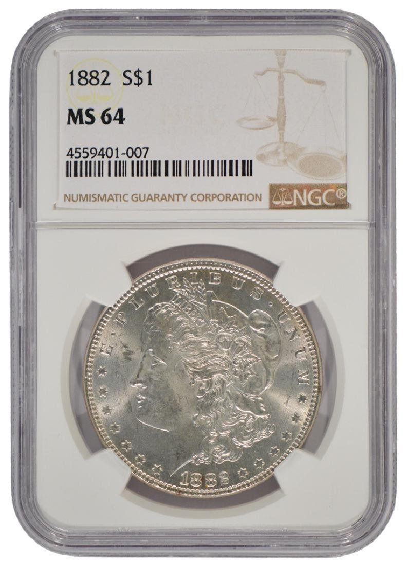 1882 $1 Morgan Silver Dollar Coin NGC MS64