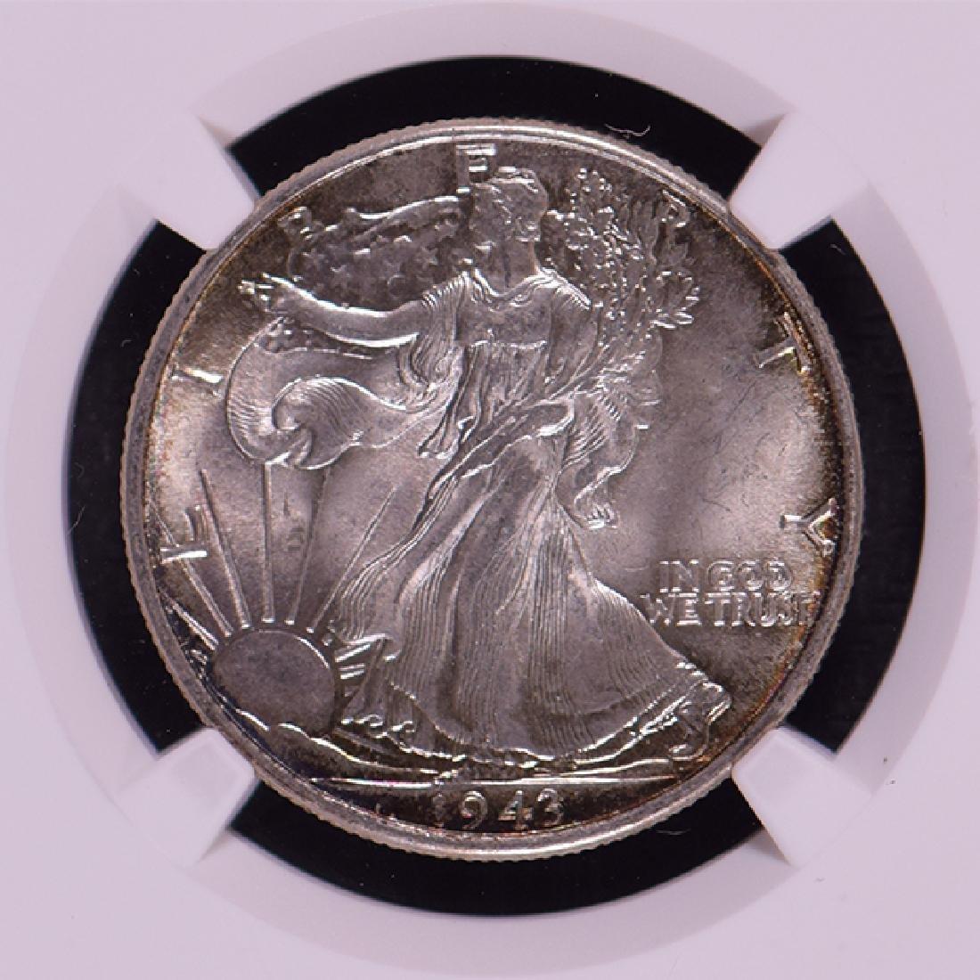 1943 Walking Liberty Half Dollar Coin NGC MS65 - 3