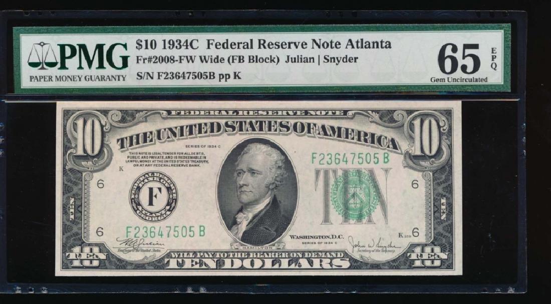 1934C $10 Atlanta Federal Reserve Note PMG 65EPQ