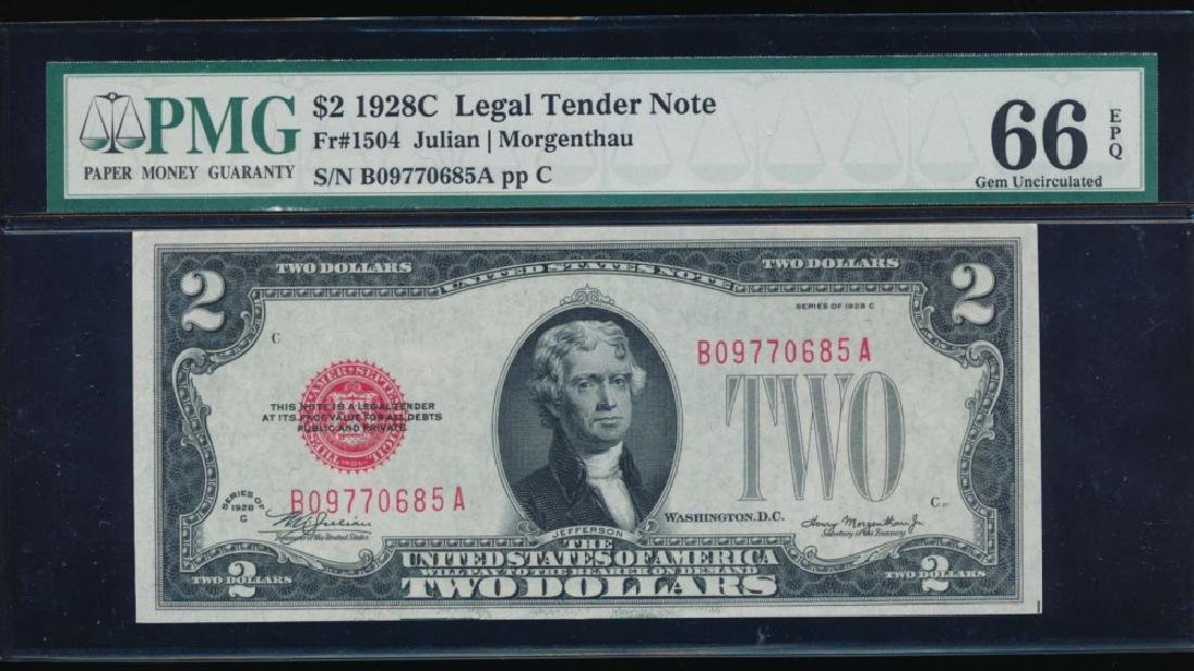 1928C $2 Legal Tender Note PMG 66EPQ