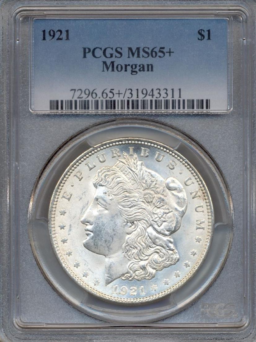 1921 $1 Morgan Silver Dollar Coin PCGS MS65+
