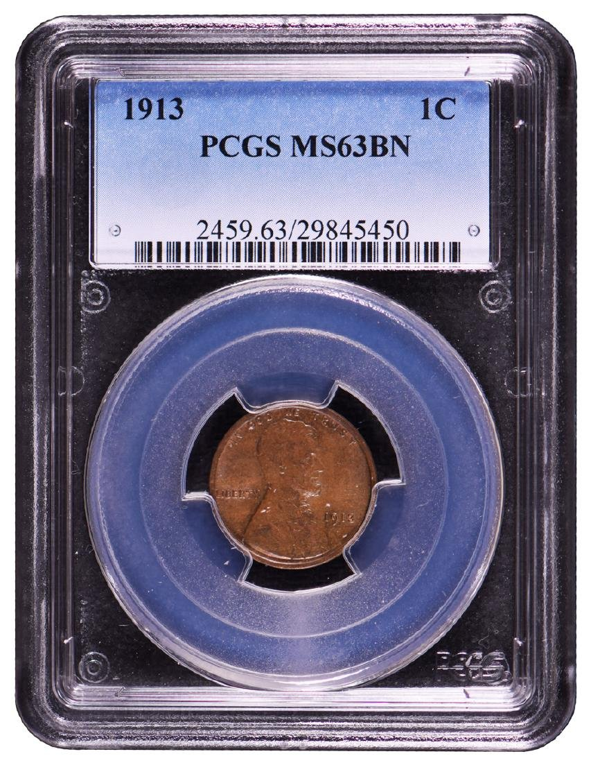 1913 Lincoln Cent PCGS MS63BN