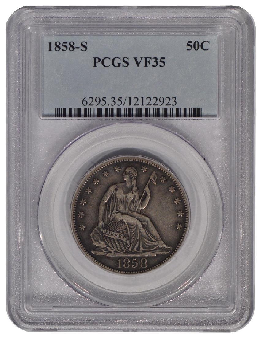 1858-S Seated Liberty Half Dollar Coin PCGS VF35