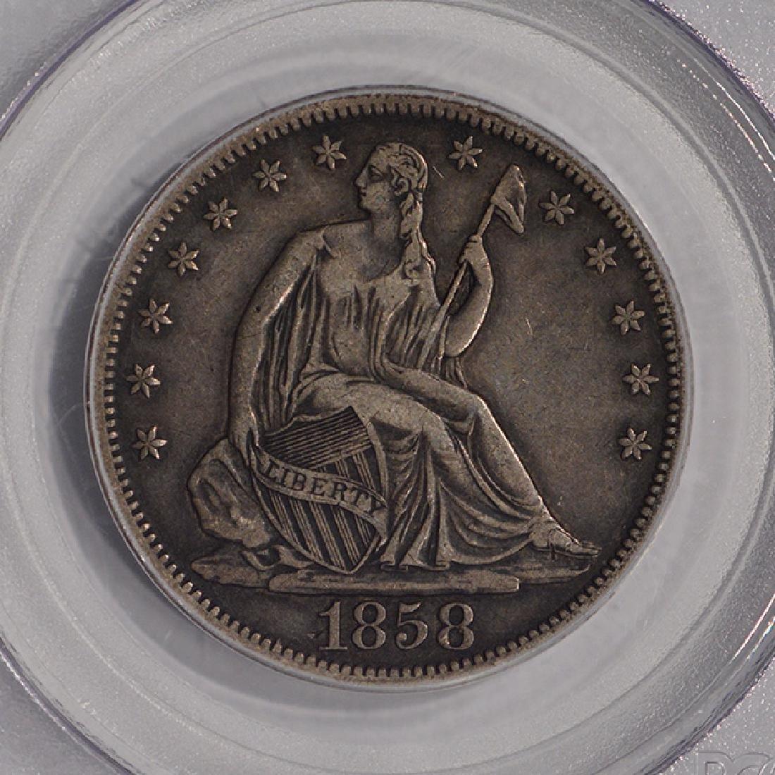 1858-S Seated Liberty Half Dollar Coin PCGS VF35 - 3