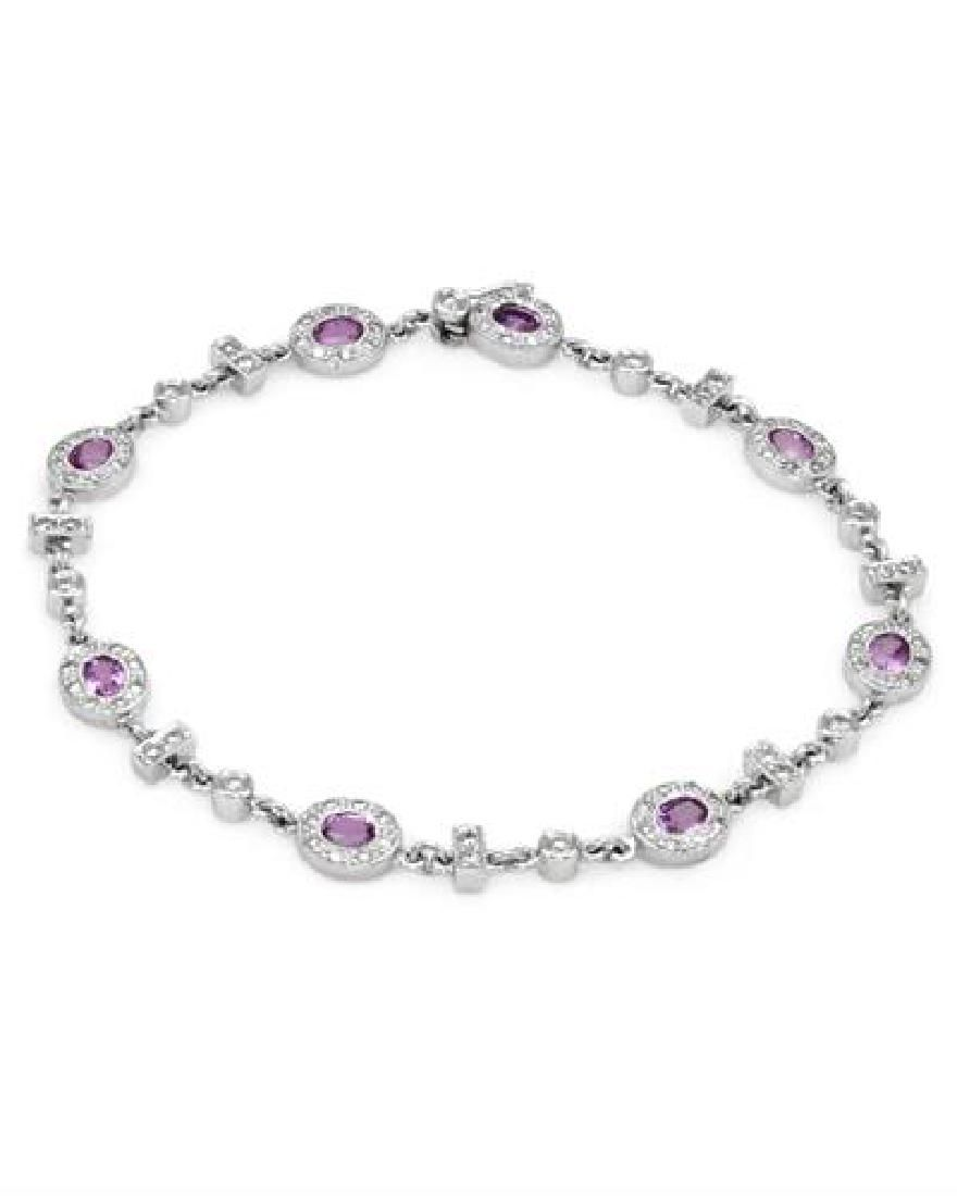 14KT White Gold 2.11ctw Pink Sapphire and Diamond