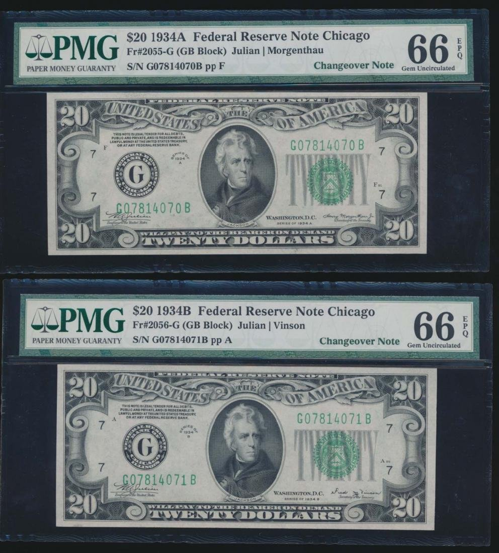 1934A and 1934B $20 Chicago Federal Reserve Notes PMG