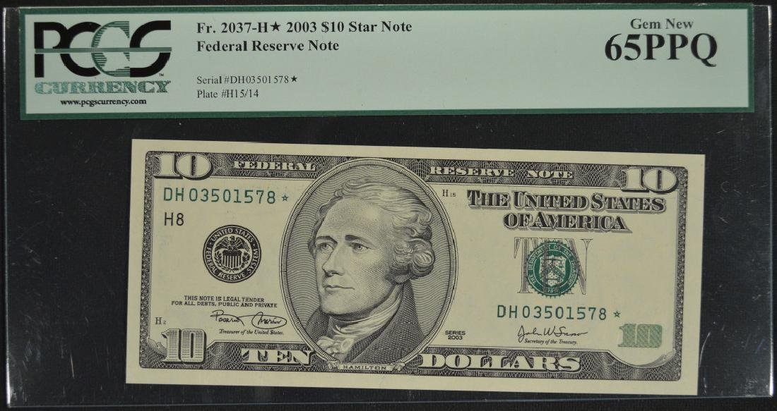 2003 $10 Federal Reserve Star Note PCGS 65PPQ