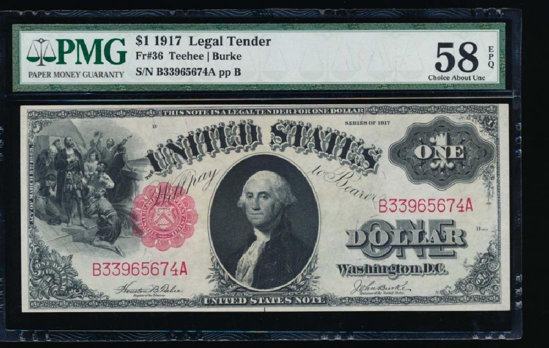 1917 $1 Legal Tender Note PMG 58EPQ