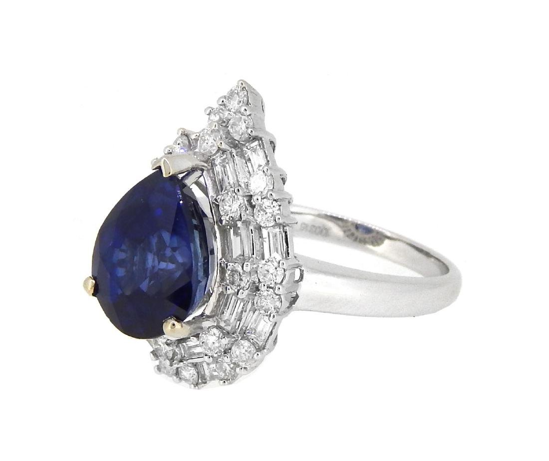 18KT White Gold 6.19ct Sapphire and Diamond Ring - 2