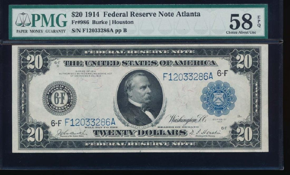 1914 $20 Atlanta Federal Reserve Note PMG 58EPQ
