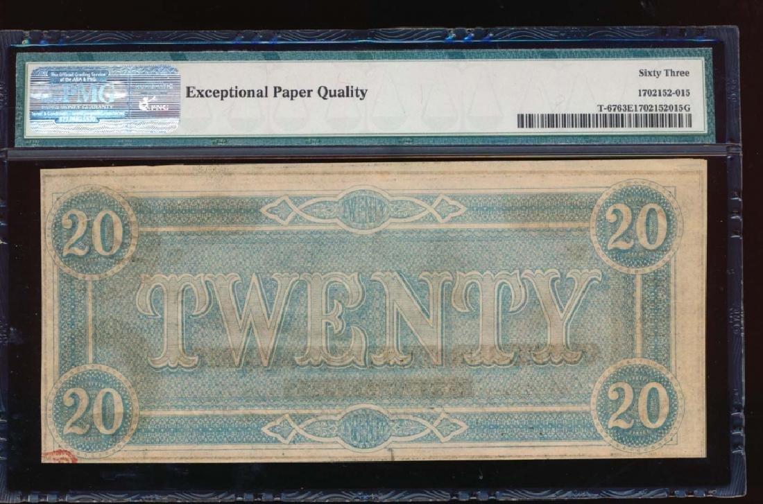 1864 $20 Confederate States of America Note PMG 63EPQ - 2