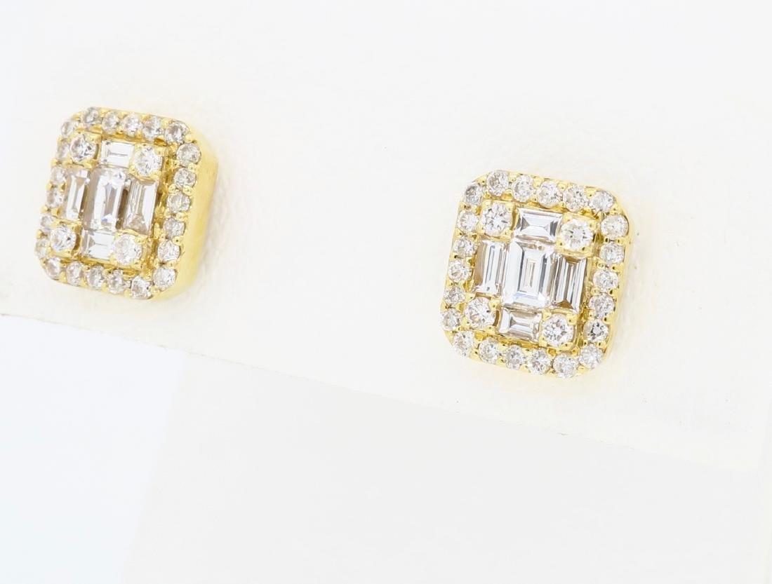 18KT Yellow Gold 0.68ctw Diamond Earrings - 2