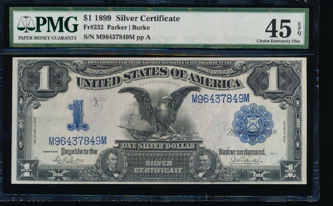 1899 $1 Black Eagle Silver Certificate PMG 45EPQ