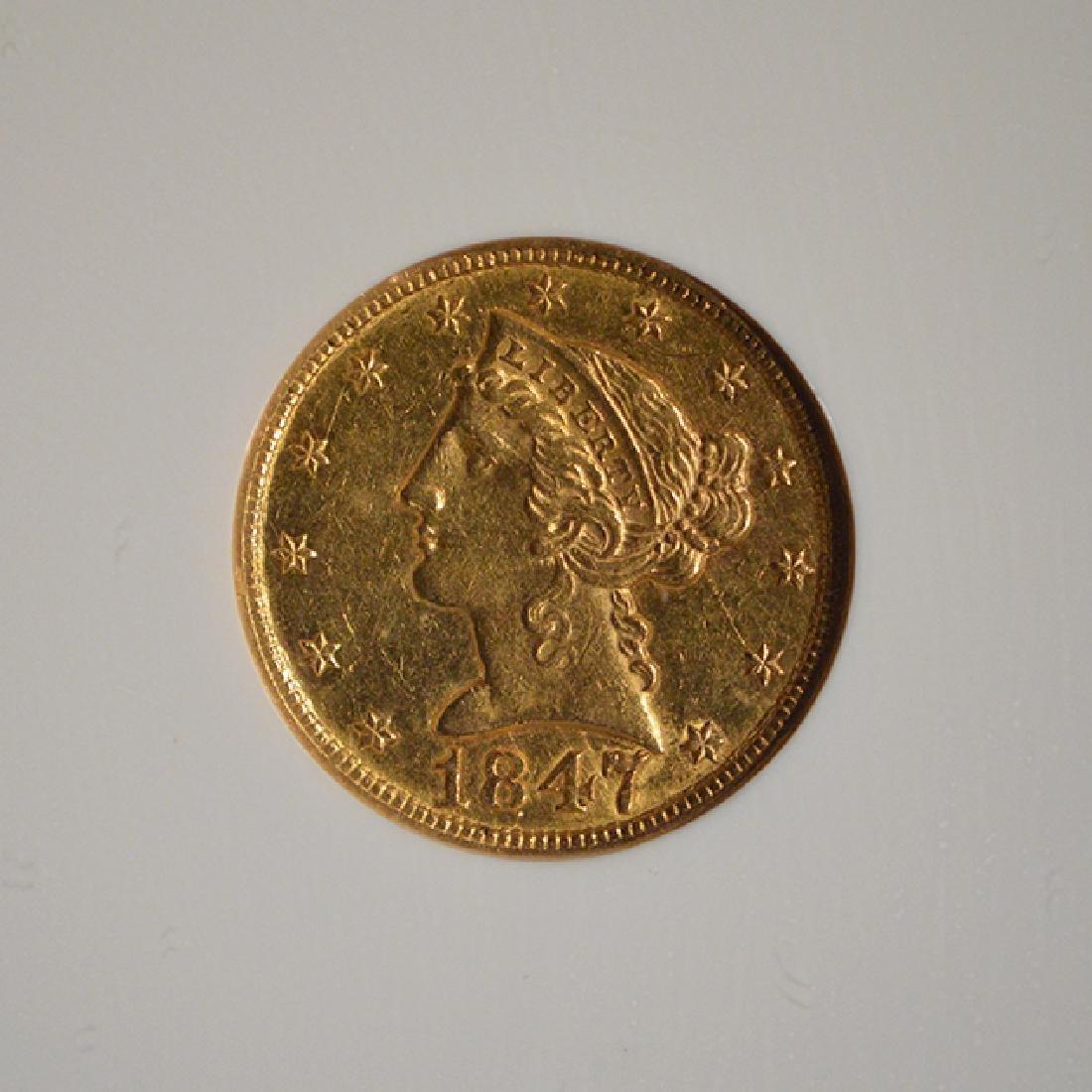 1847 $5 Liberty Head Half Eagle Gold Coin NGC AU58 - 3