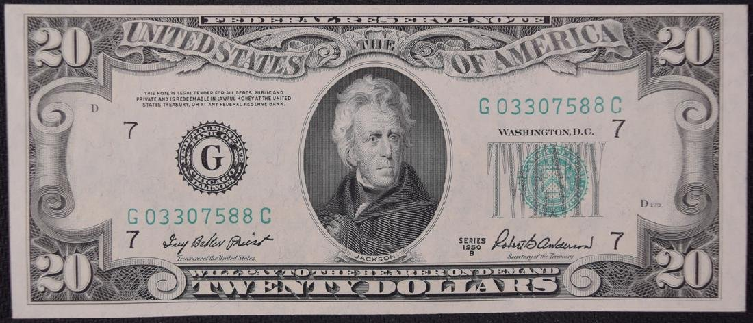 1950B $20 Chicago Federal Reserve Note
