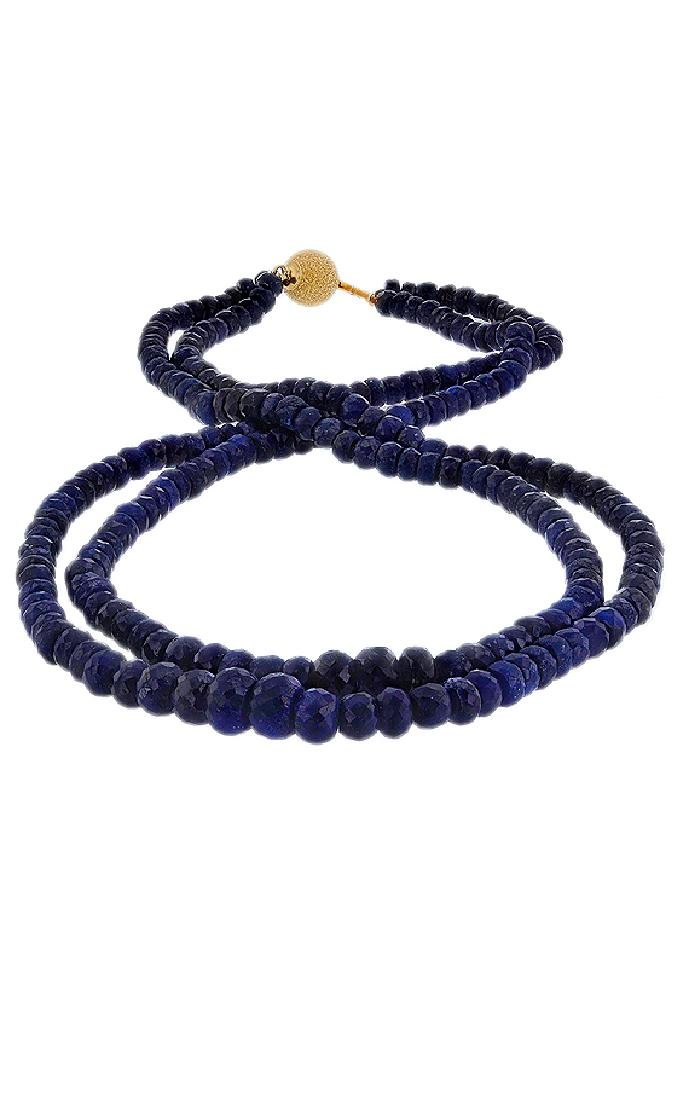 14KT Yellow Gold 250.00ctw Blue Sapphire Beaded