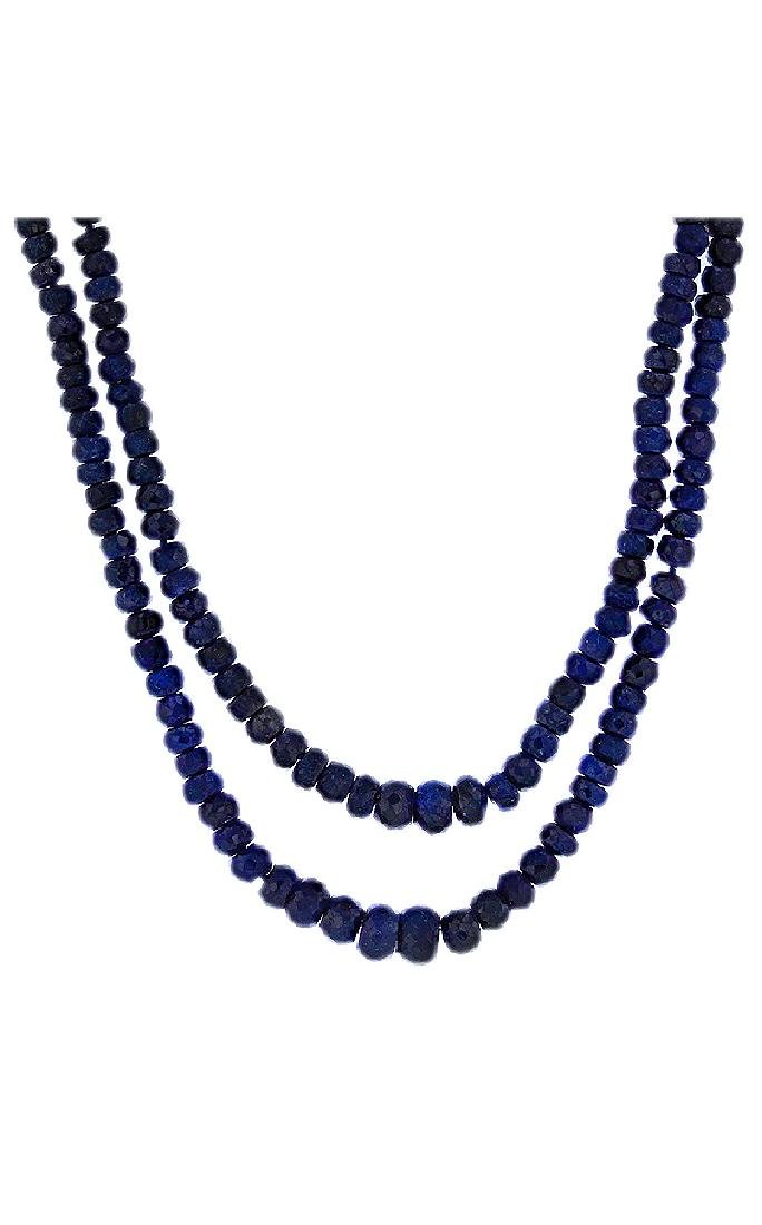 14KT Yellow Gold 250.00ctw Blue Sapphire Beaded - 2