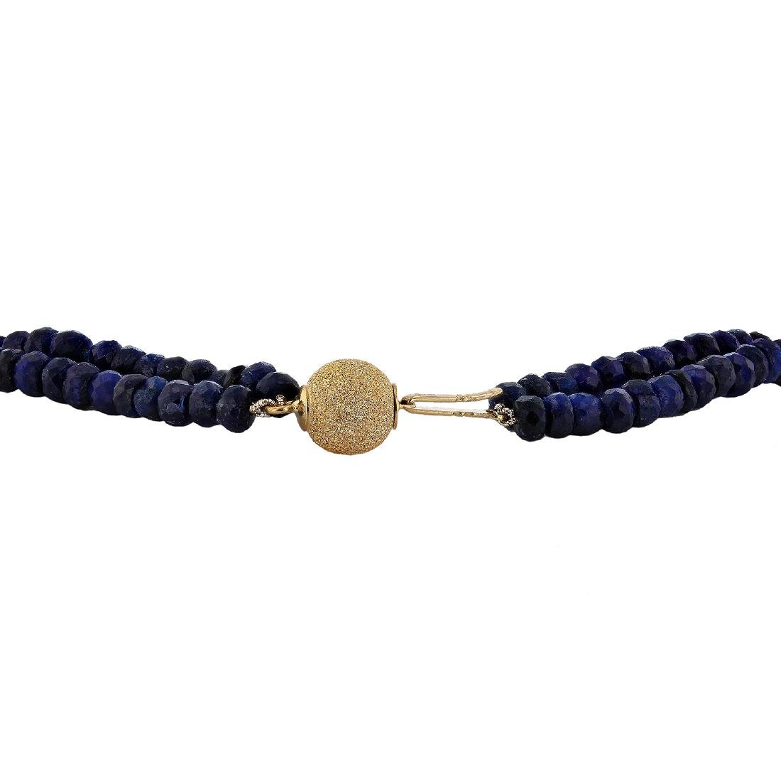 14KT Yellow Gold 250.00ctw Blue Sapphire Beaded - 3