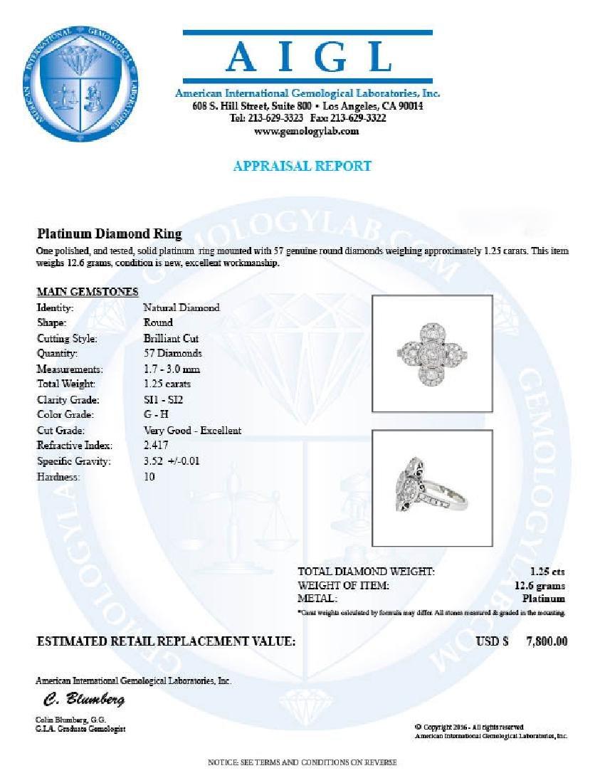 Platinum 1.25ctw Diamond Ring - 3