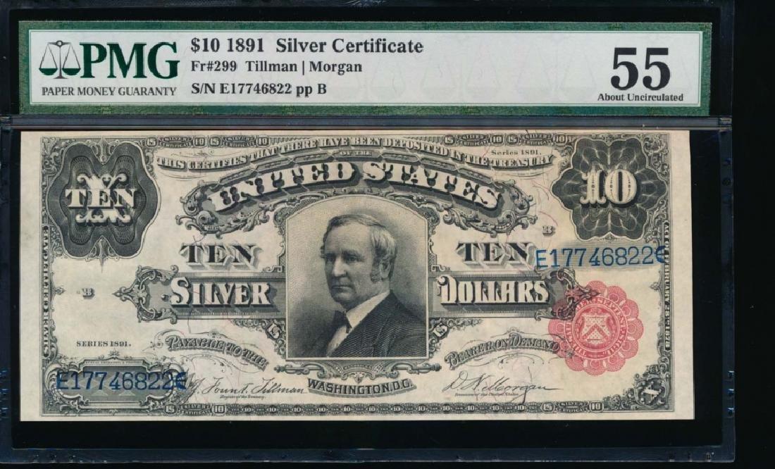 1891 $10 Silver Certificate PMG 55