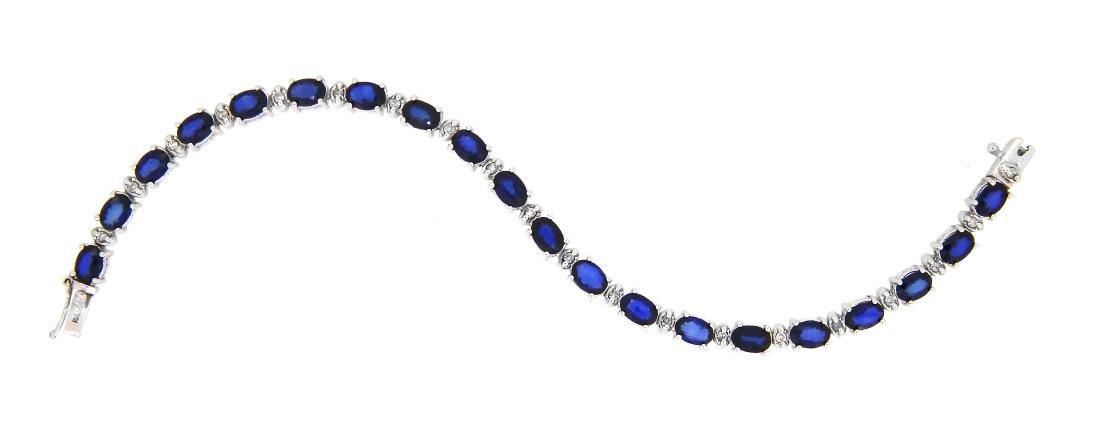 14KT White Gold 11.08ctw Sapphire and Diamond Bracelet