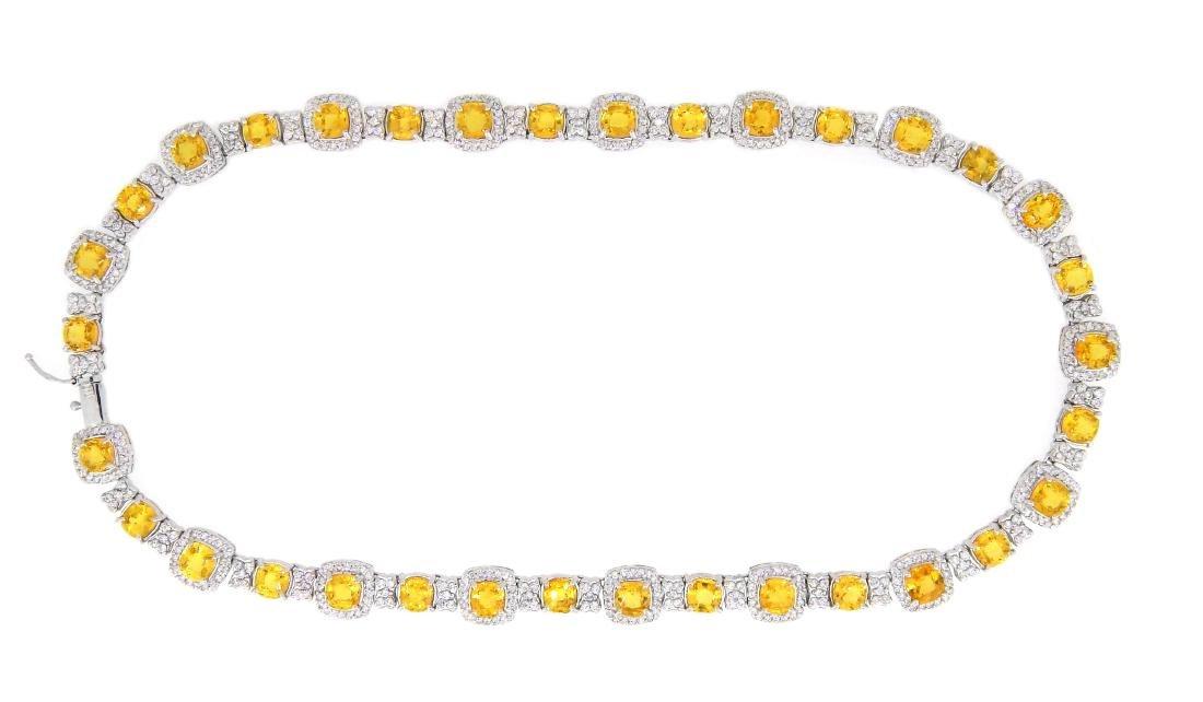 14KT White Gold 43.00ctw Yellow Sapphire and Diamond