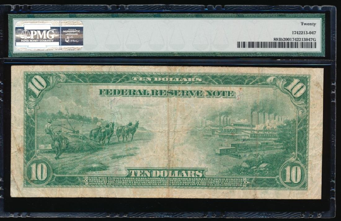 1914 $10 New York Red Seal Federal Reserve Note PMG 20 - 2
