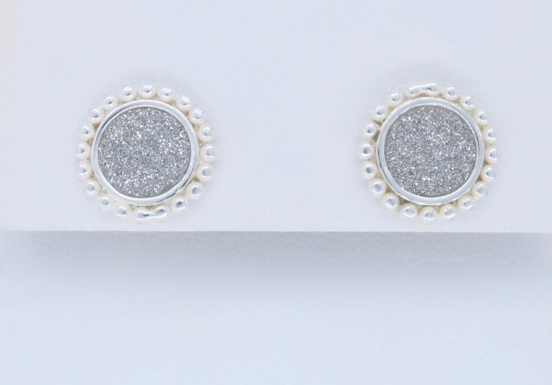Sterling Silver Glitter Earrings - 2