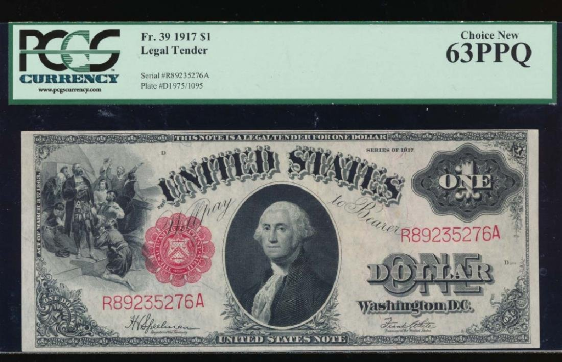 1917 $1 Legal Tender Note PCGS 63PPQ