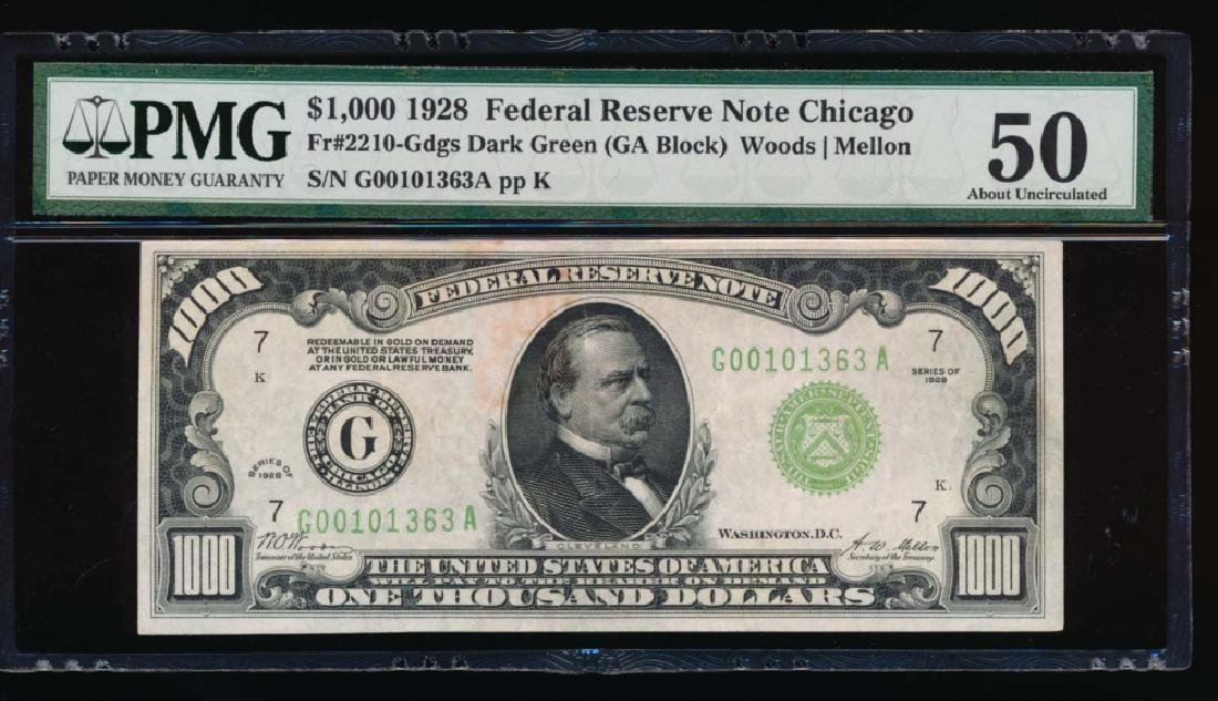 1928 $1000 Chicago Federal Reserve Note PMG 50