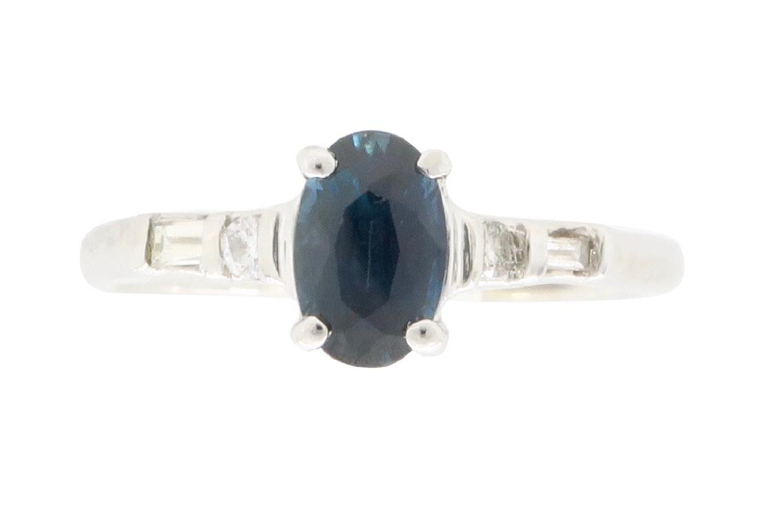 14KT White Gold Blue Sapphire and Diamond Ring