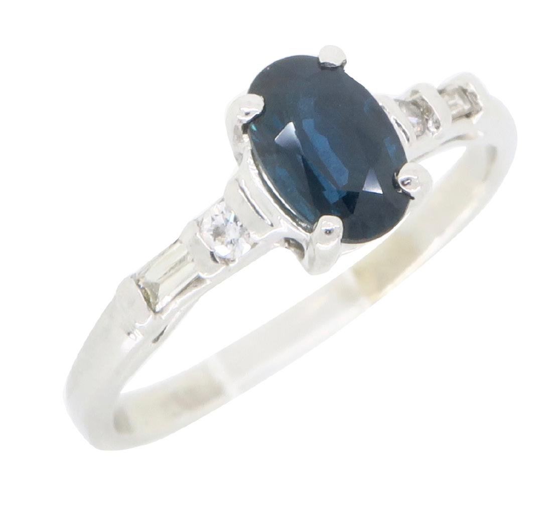 14KT White Gold Blue Sapphire and Diamond Ring - 3