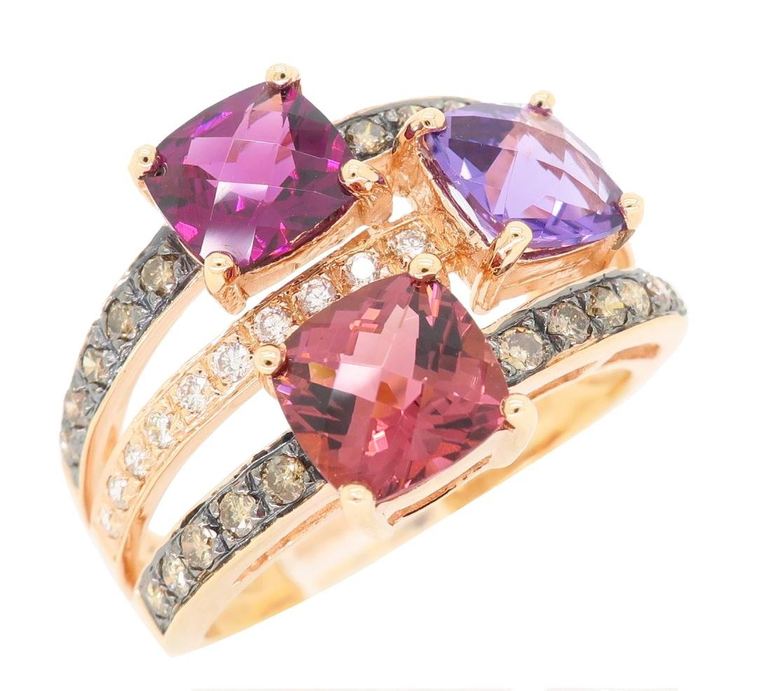 Levian 14KT Rose Gold Colored Stones and Diamond Ring - 2