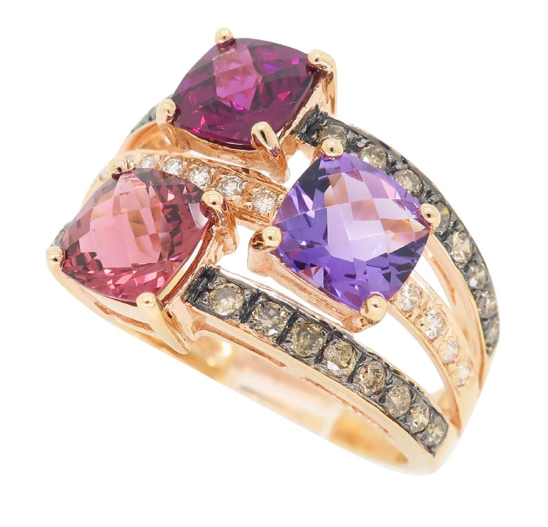 Levian 14KT Rose Gold Colored Stones and Diamond Ring - 3