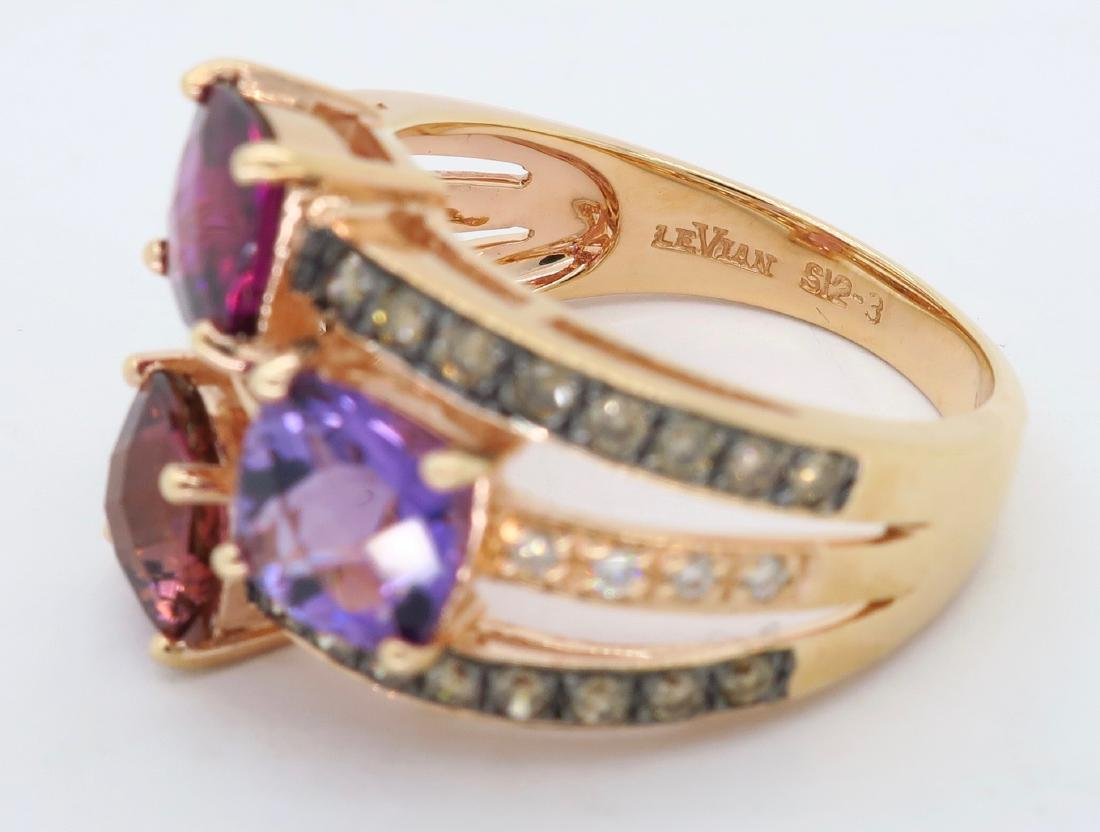 Levian 14KT Rose Gold Colored Stones and Diamond Ring - 4