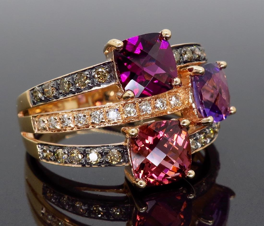 Levian 14KT Rose Gold Colored Stones and Diamond Ring - 6