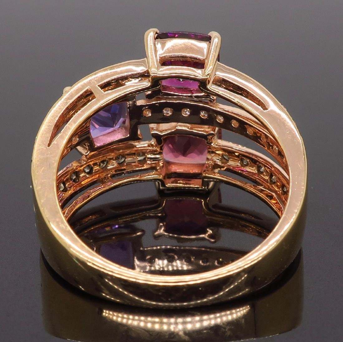 Levian 14KT Rose Gold Colored Stones and Diamond Ring - 7