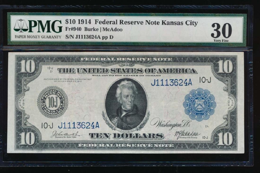 1914 $10 Kansas City Federal Reserve Note PMG 30