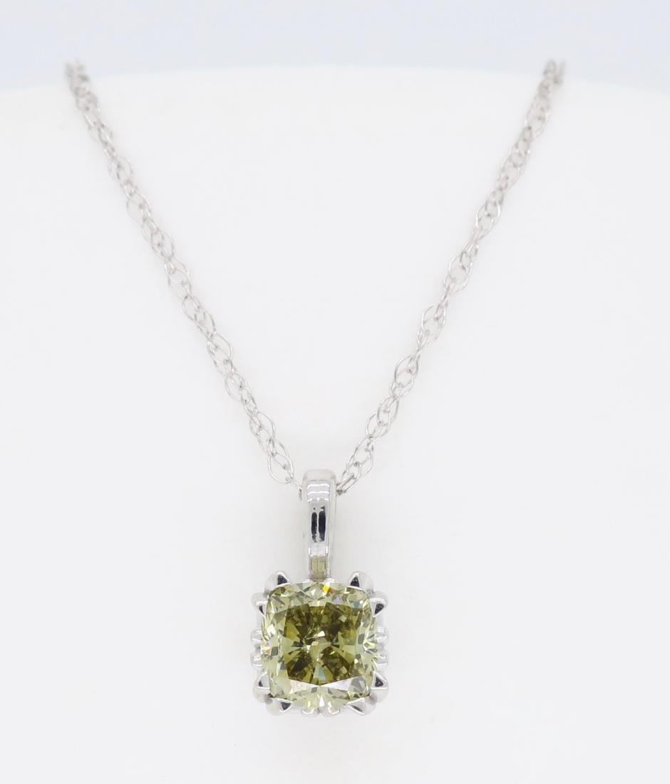 14KT White Gold GIA Cert 0.61ct Diamond Pendant with