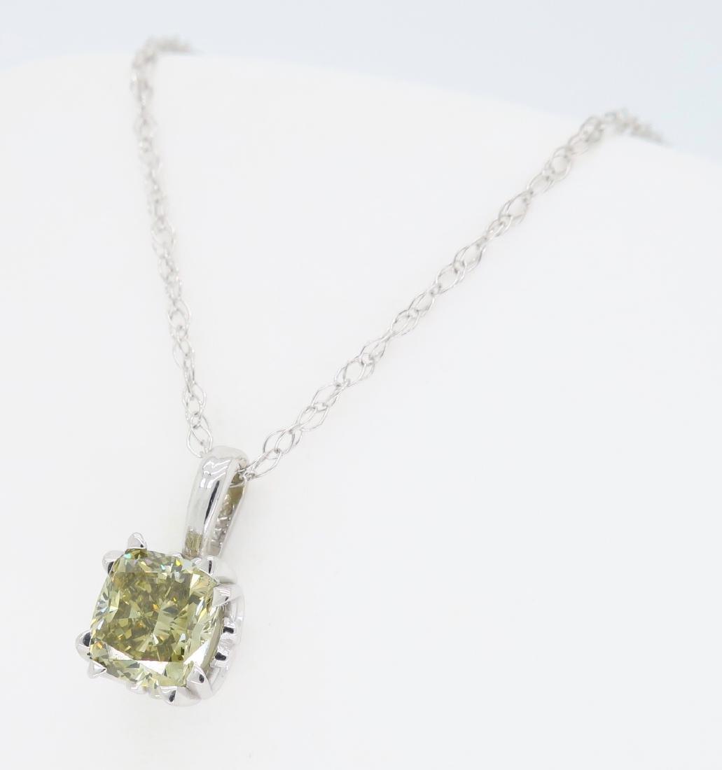 14KT White Gold GIA Cert 0.61ct Diamond Pendant with - 2