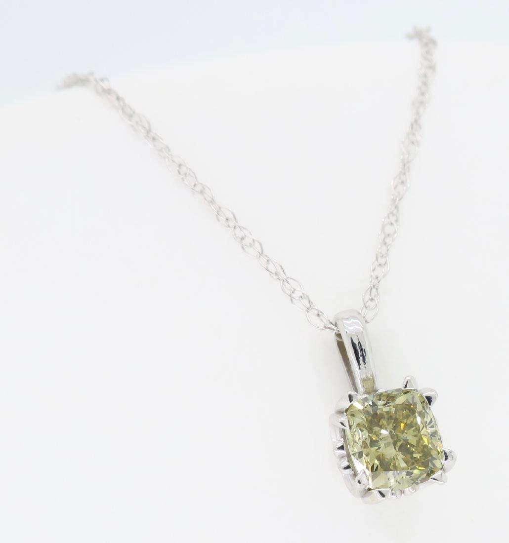 14KT White Gold GIA Cert 0.61ct Diamond Pendant with - 3