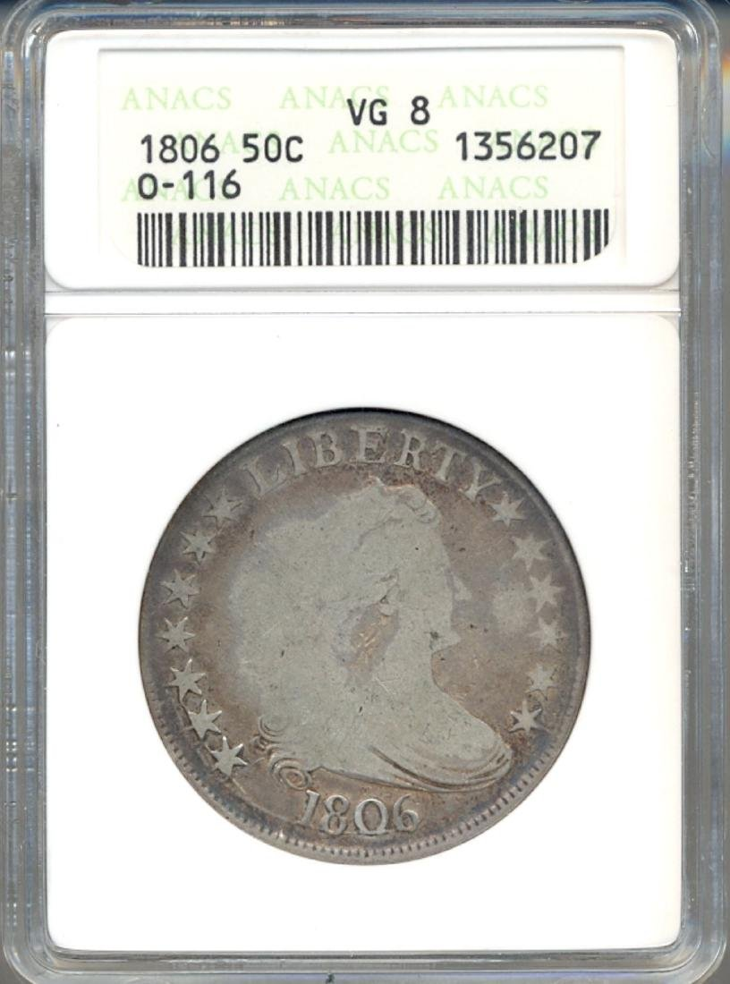 1806 Liberty Bust Half Dollar Coin ANACS VG8