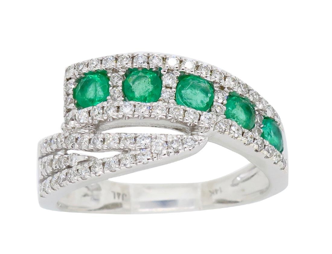 14KT White Gold 0.56ctw Emerald and Diamond Ring