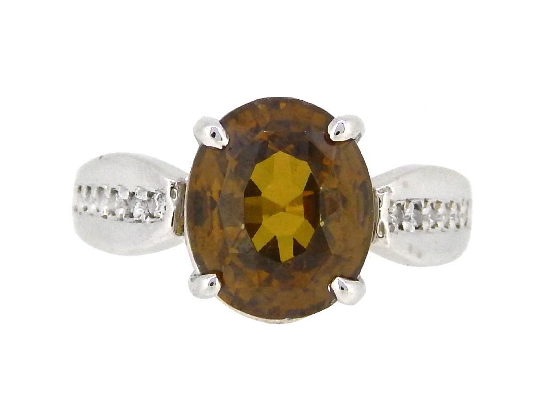 14KT White Gold 7.75ct Orangy Brown Zircon and Diamond
