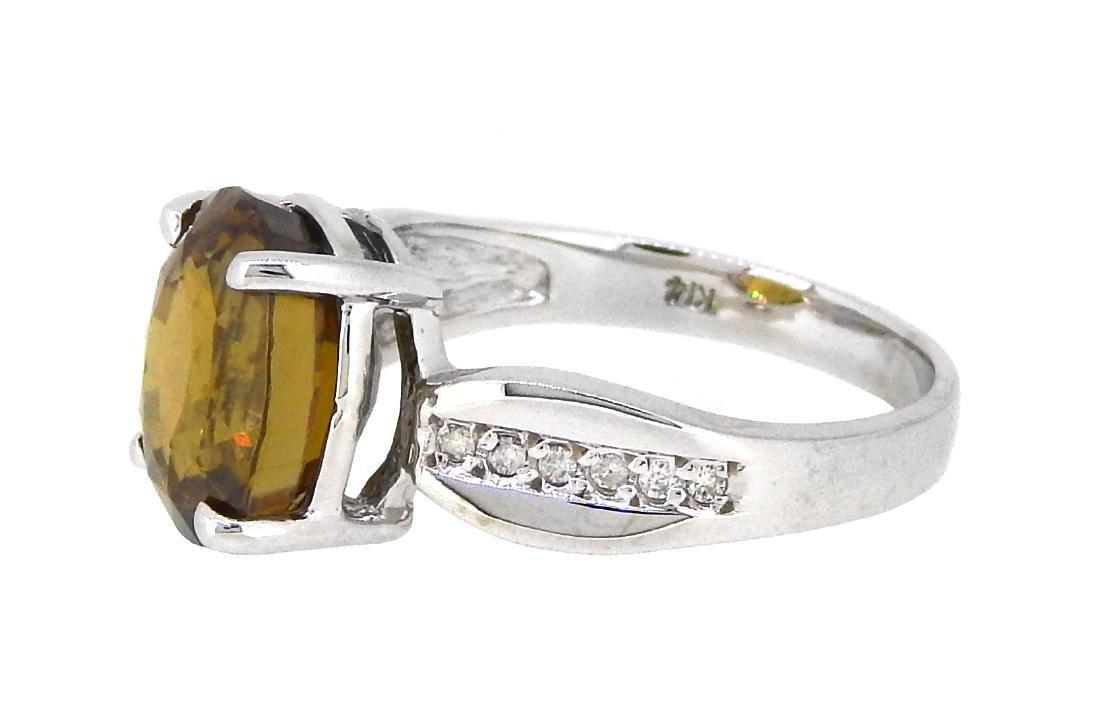 14KT White Gold 7.75ct Orangy Brown Zircon and Diamond - 2