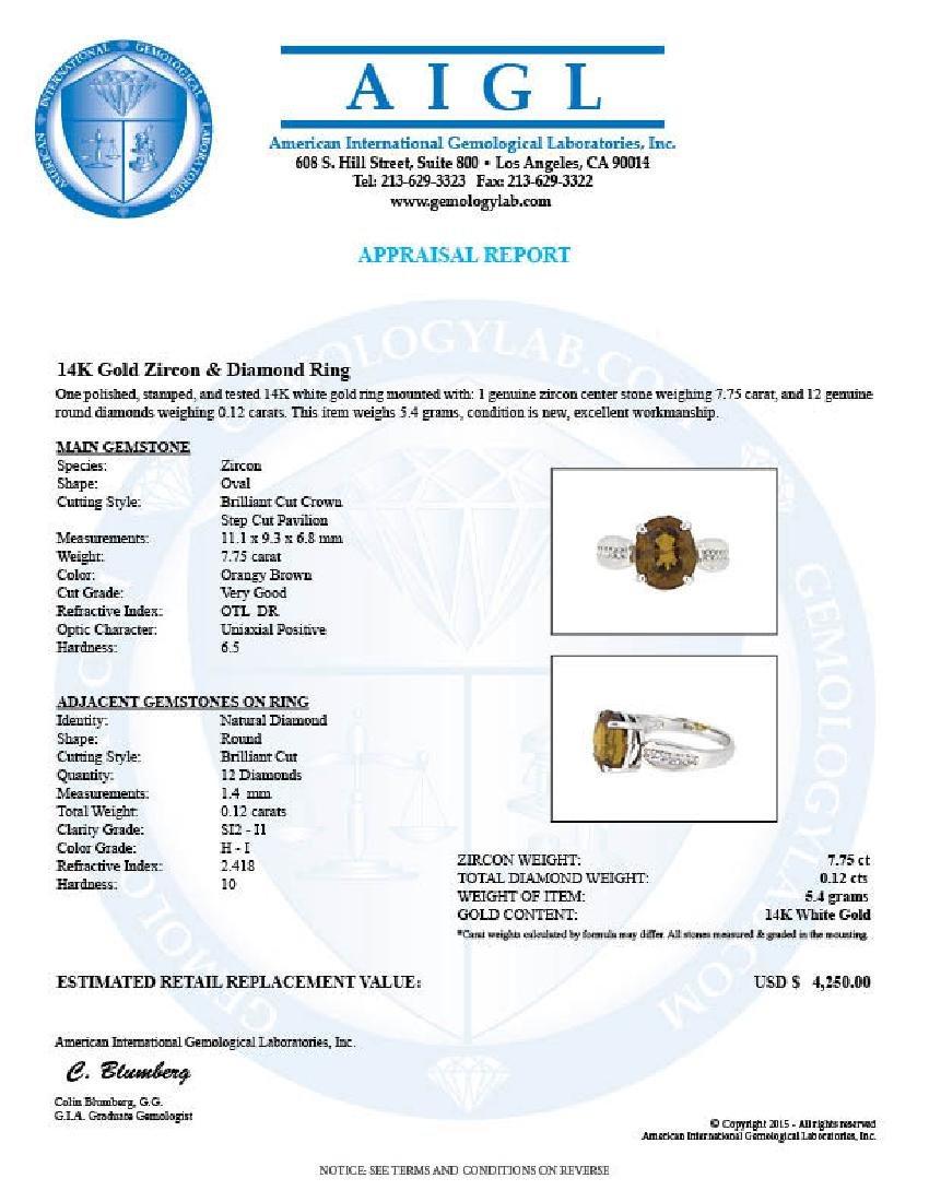 14KT White Gold 7.75ct Orangy Brown Zircon and Diamond - 3