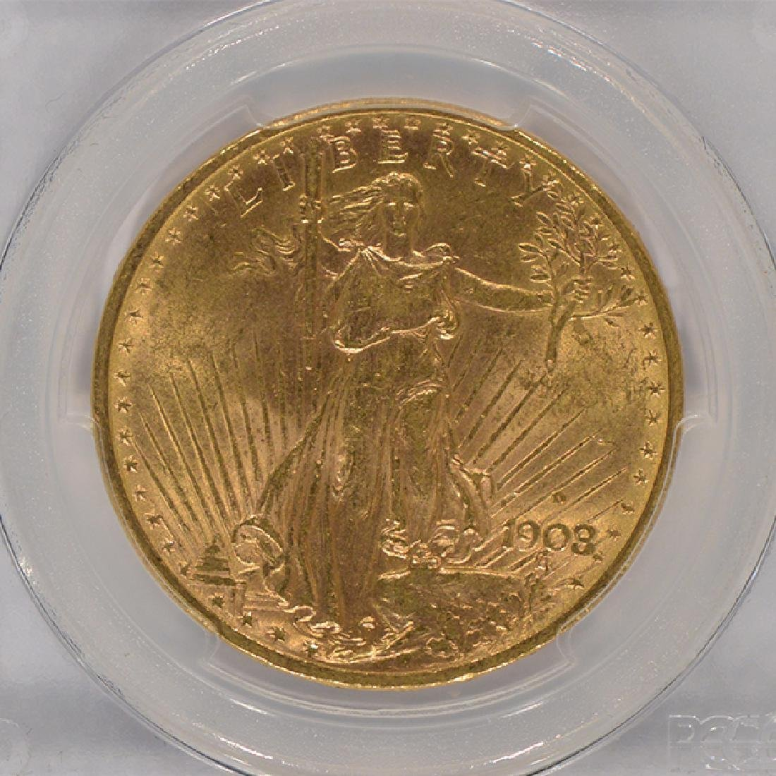 1908-D $20 St Gaudens Double Eagle Motto Gold Coin PCGS - 3