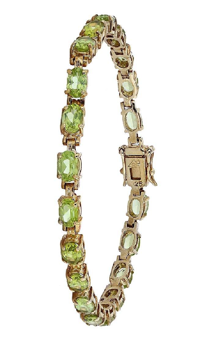 SILVER 8.80ctw Peridot Bracelet
