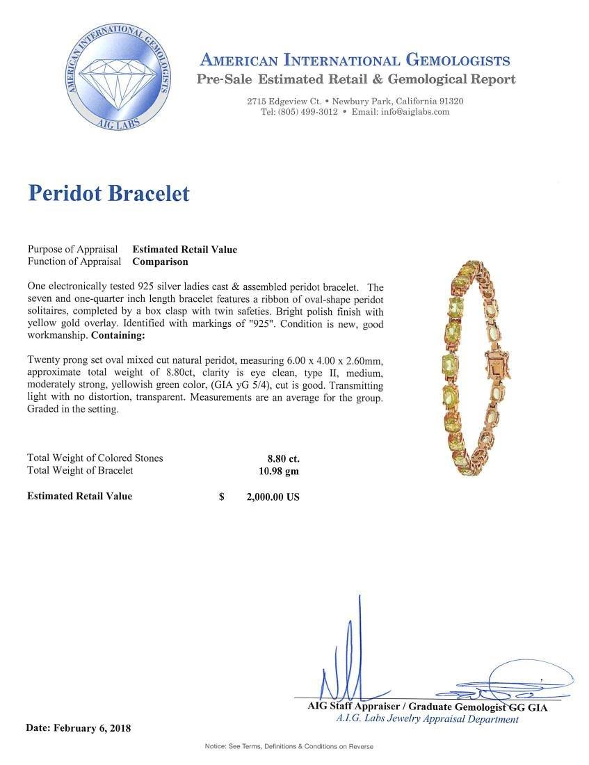 SILVER 8.80ctw Peridot Bracelet - 4